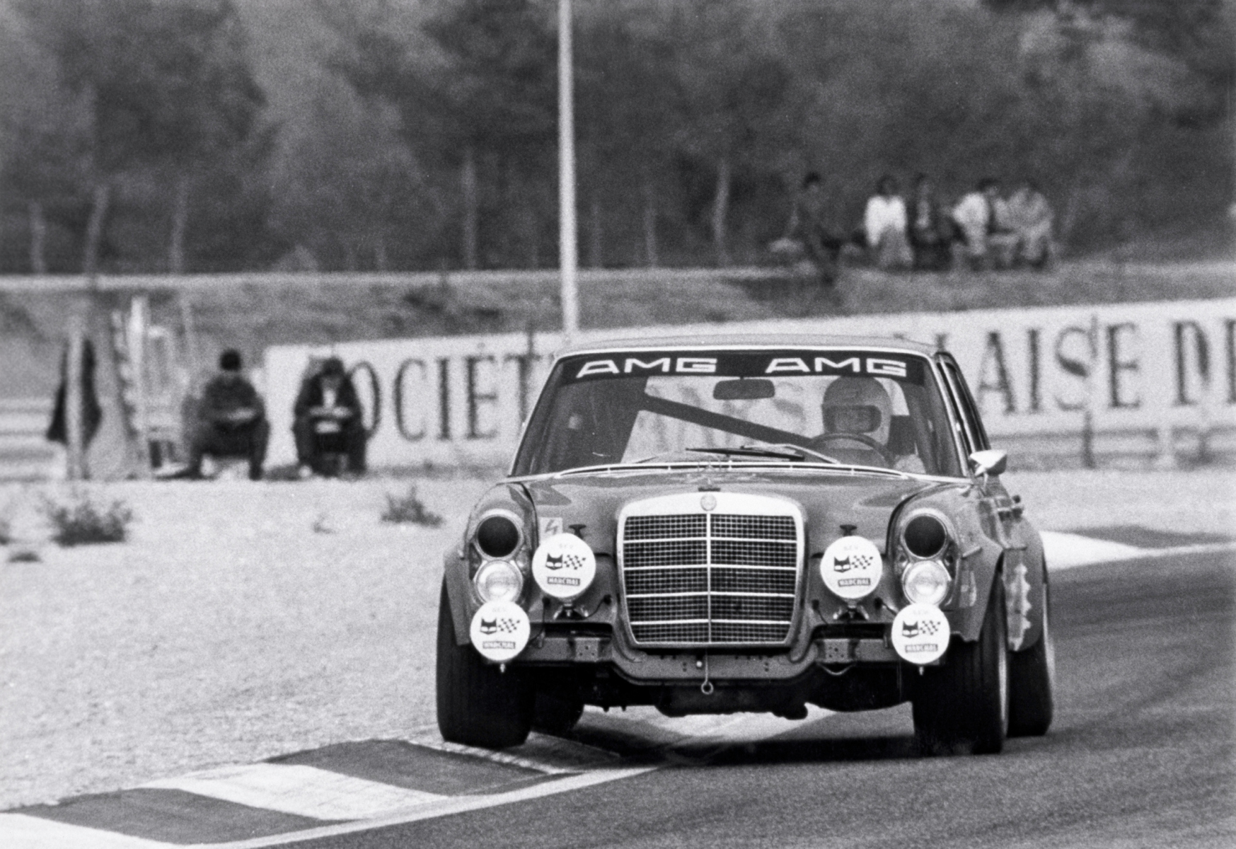 AMG 300 SEL 6.8 racing touring car based on the Mercedes-Benz 300 SEL 6.3 (W 109) luxury saloon. At the 24-hour race in Spa-Francorchamps in 1971, Hans Heyer and Clemens Schickentanz attained second place overall, causing a sensation.