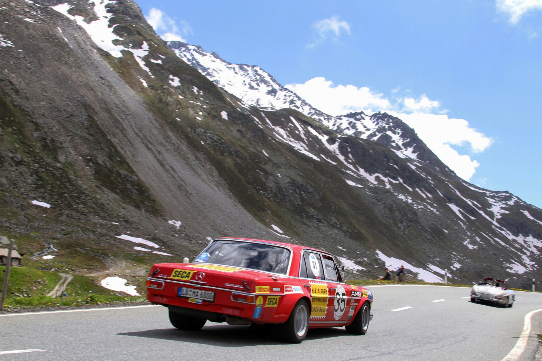 AMG 300 SEL 6.8 racing touring car based on the Mercedes-Benz 300 SEL 6.3 (W 109) luxury saloon, detailed reconstruction from 2006. Photo of the Silvretta Classic Rallye Montafon in 2013.