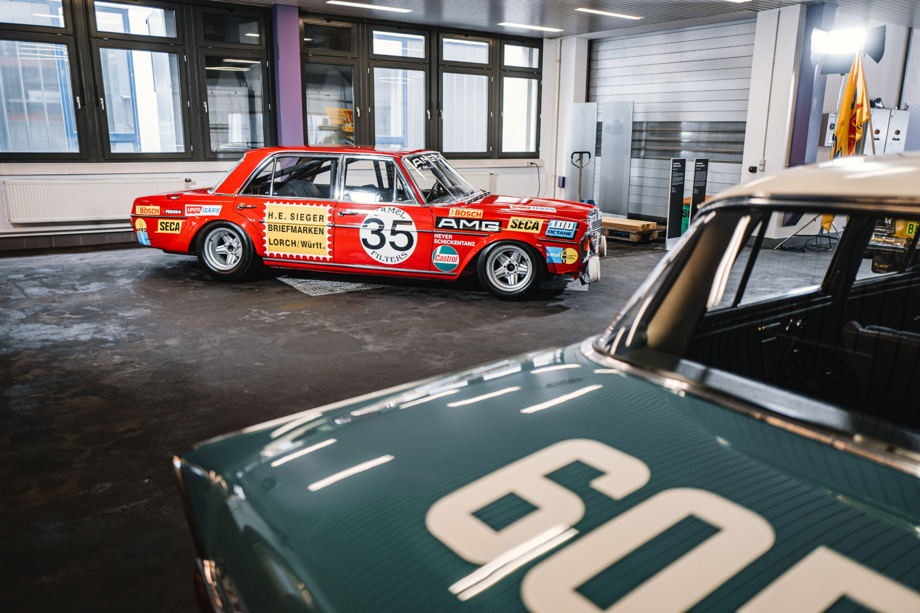 AMG 300 SEL 6.8 racing touring car based on the Mercedes-Benz 300 SEL 6.3 (W 109) luxury saloon, detailed reconstruction from 2006. Photo from the Classic Center Communication Hub (CCCH) of the Mercedes-Benz S-Class in 2020.
